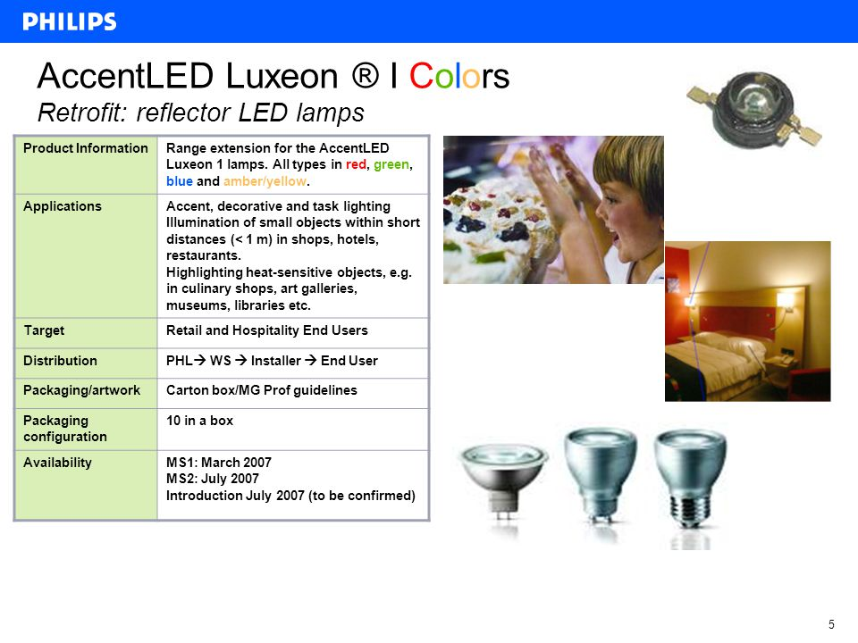 4 AccentLED Luxeon ® I Retrofit: reflector LED lamps Product Information High-power low-voltage (MR16 GU5.3) and mains-voltage (GU10 and E27) LED reflector lamps for retrofit replacement of conventional incandescent and halogen reflector lamps in specific indoor applications Applications Accent, decorative and task lighting Illumination of small objects within short distances (< 1 m) in shops, hotels, restaurants.