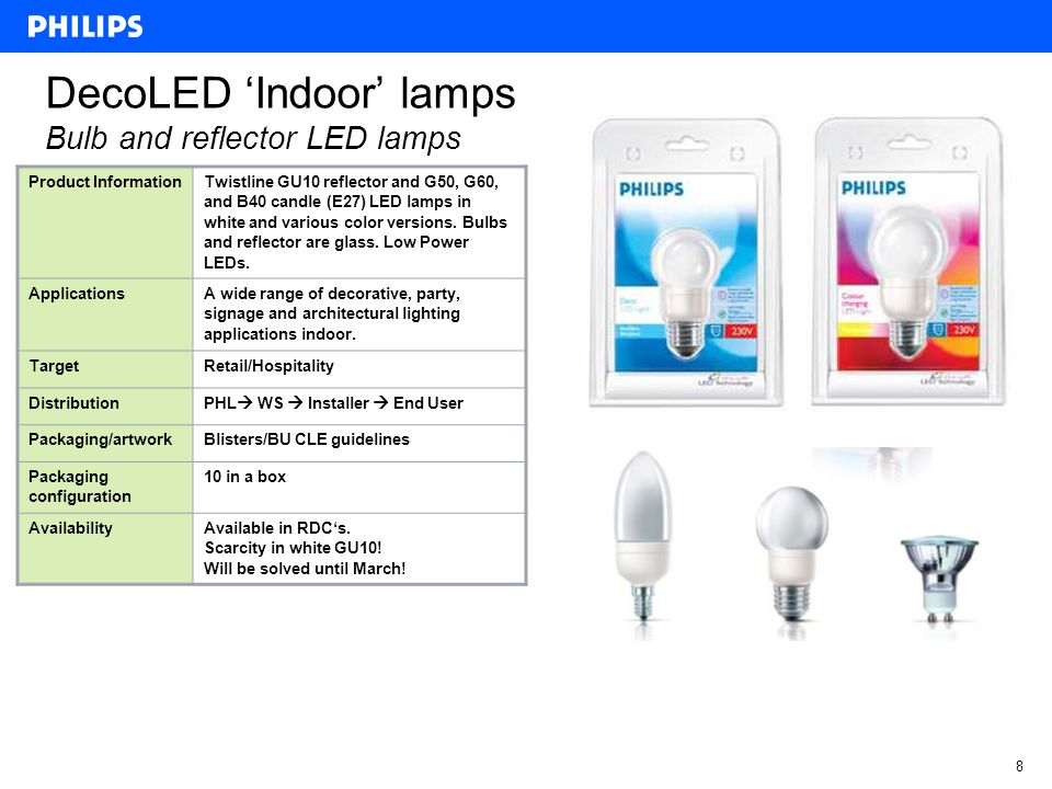 7 DecoLED Outdoor lamps Bulb LED lamps Product Information Colored G50 LED lamps and color- changing G60 LED lamps with E27 and B22 base for direct retrofit replacement of standard low-wattage incandescent lamps.