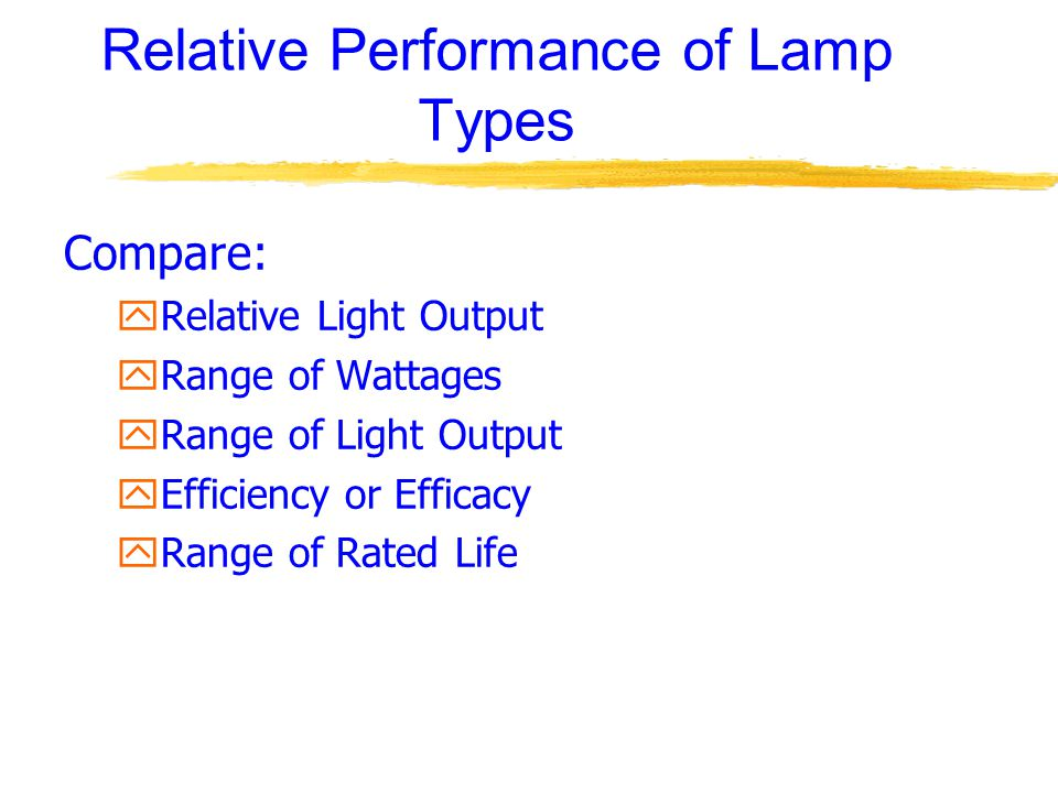 Relative Performance of Lamp Types Compare: yRelative Light Output yRange of Wattages yRange of Light Output yEfficiency or Efficacy yRange of Rated Life