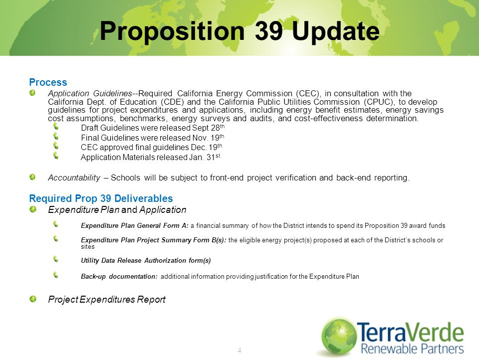 Proposition 39 Update Process Application Guidelines--Required California Energy Commission (CEC), in consultation with the California Dept.