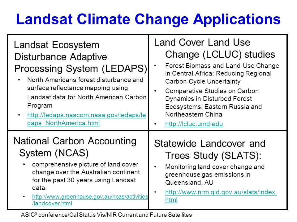 ASIC 3 conference/Cal Status Vis/NIR Current and Future Satellites Landsat Climate Change Applications Landsat Ecosystem Disturbance Adaptive Processing System (LEDAPS) North Americans forest disturbance and surface reflectance mapping using Landsat data for North American Carbon Program http://ledaps.nascom.nasa.gov/ledaps/le daps_NorthAmerica.html http://ledaps.nascom.nasa.gov/ledaps/le daps_NorthAmerica.html Land Cover Land Use Change (LCLUC) studies Forest Biomass and Land-Use Change in Central Africa: Reducing Regional Carbon Cycle Uncertainty Comparative Studies on Carbon Dynamics in Disturbed Forest Ecosystems: Eastern Russia and Northeastern China http://lcluc.umd.edu Statewide Landcover and Trees Study (SLATS): Monitoring land cover change and greenhouse gas emissions in Queensland, AU http://www.nrm.qld.gov.au/slats/index.