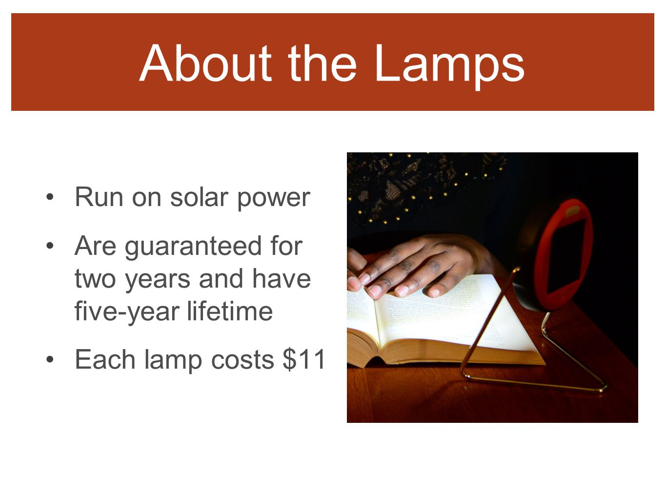 About the Lamps Run on solar power Are guaranteed for two years and have five-year lifetime Each lamp costs $11 About the Lamps