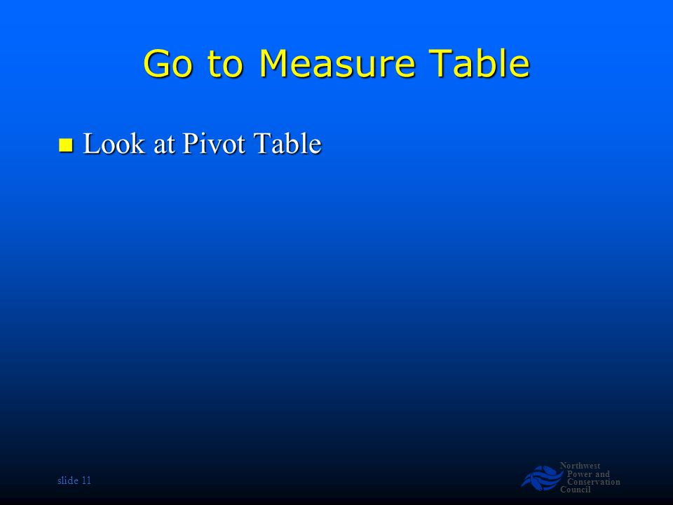 Northwest Power and Conservation Council slide 11 Go to Measure Table Look at Pivot Table Look at Pivot Table