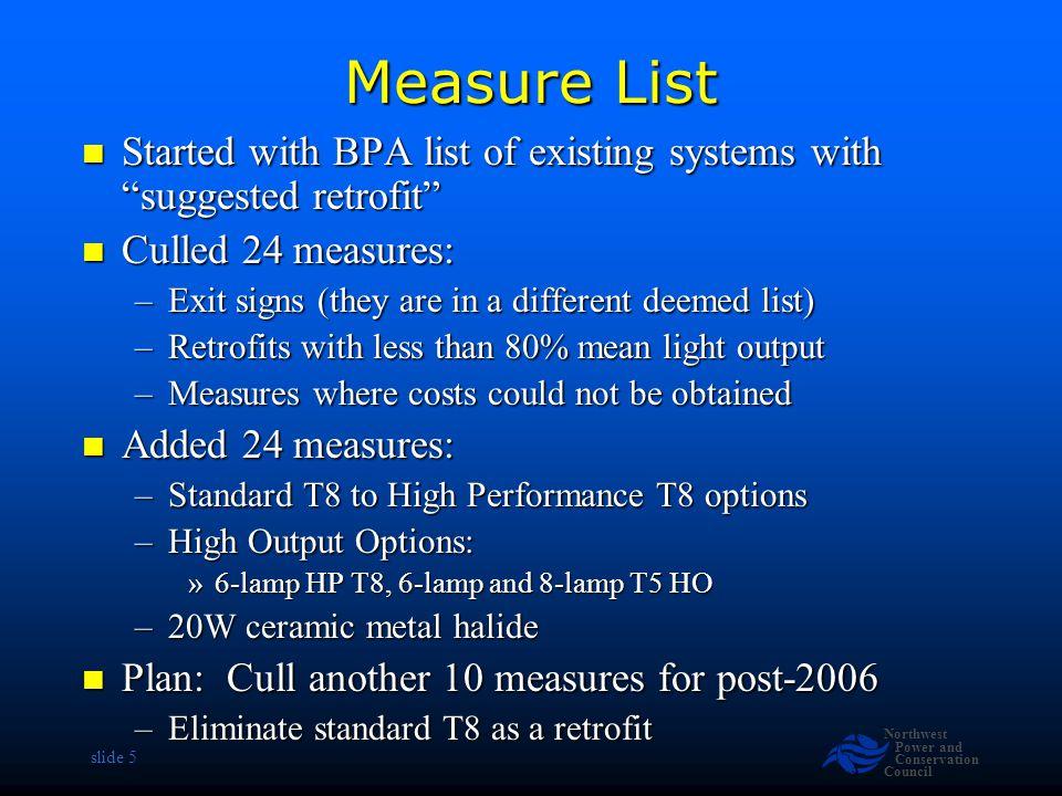 Northwest Power and Conservation Council slide 6 Measure List 125 measures 125 measures –(Current deemed list has 19 retrofit measures) Incandescent to Screw-In CFL (9 ) Incandescent to Screw-In CFL (9 ) Incandescent to Hard-Wired CFL (29) Incandescent to Hard-Wired CFL (29) Incandescent to Ceramic Metal Halide (7) Incandescent to Ceramic Metal Halide (7) T12 Fluorescent Retrofits (56 ) T12 Fluorescent Retrofits (56 ) Standard T8 Fluorescent to HPT8 (9) Standard T8 Fluorescent to HPT8 (9) Mercury Vapor Retrofits (5 ) Mercury Vapor Retrofits (5 ) Metal Halide Retrofits (10) Metal Halide Retrofits (10)