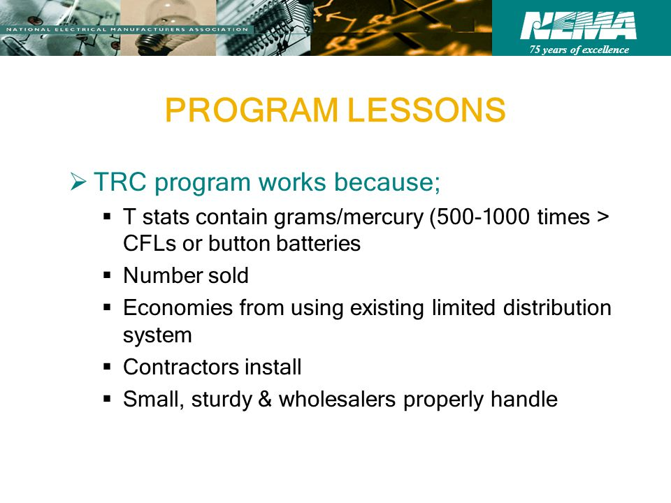 75 years of excellence PROGRAM LESSONS TRC program works because; T stats contain grams/mercury (500-1000 times > CFLs or button batteries Number sold Economies from using existing limited distribution system Contractors install Small, sturdy & wholesalers properly handle