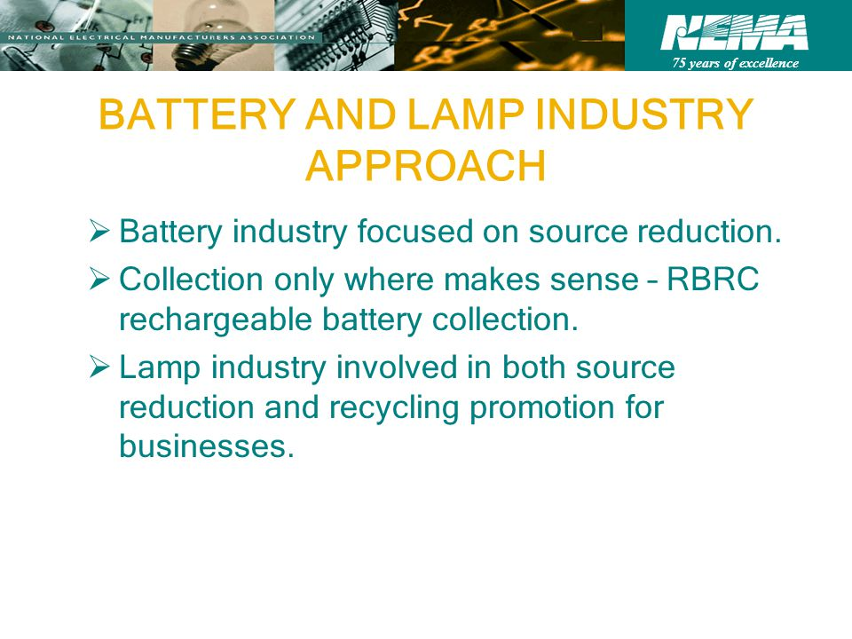75 years of excellence BATTERY AND LAMP INDUSTRY APPROACH Battery industry focused on source reduction.