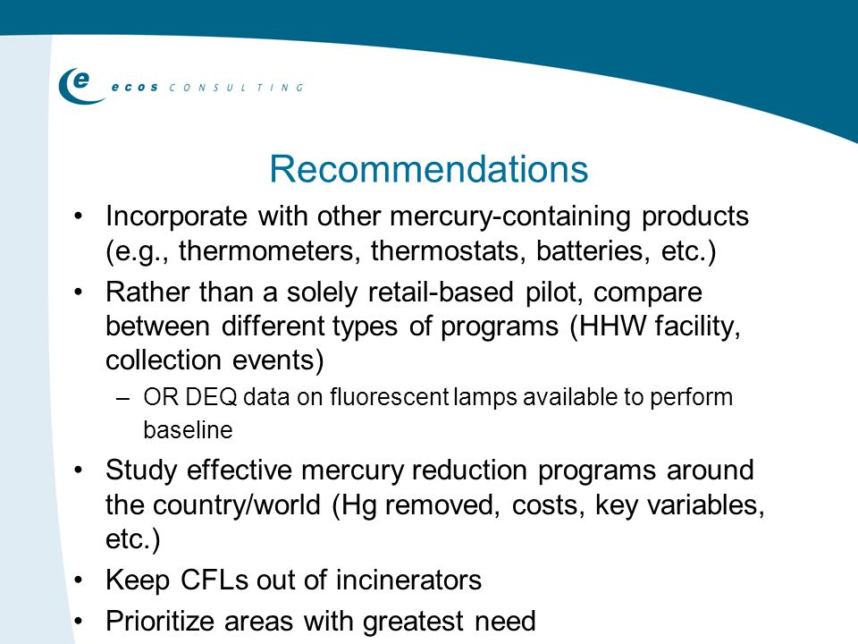 Recommendations Incorporate with other mercury-containing products (e.g., thermometers, thermostats, batteries, etc.) Rather than a solely retail-based pilot, compare between different types of programs (HHW facility, collection events) –OR DEQ data on fluorescent lamps available to perform baseline Study effective mercury reduction programs around the country/world (Hg removed, costs, key variables, etc.) Keep CFLs out of incinerators Prioritize areas with greatest need