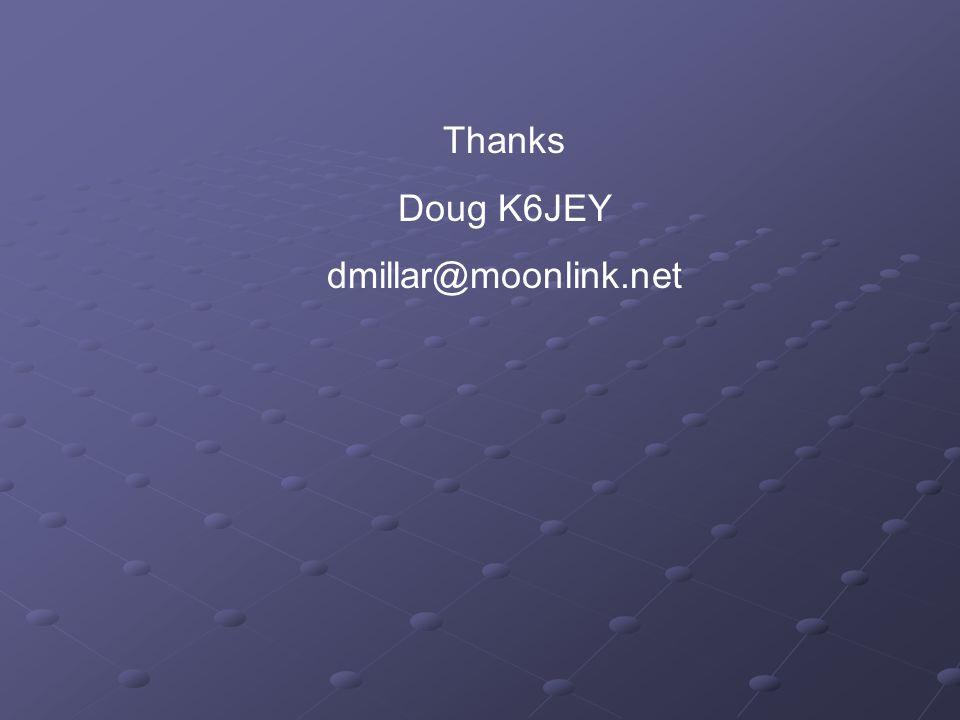 Thanks Doug K6JEY dmillar@moonlink.net
