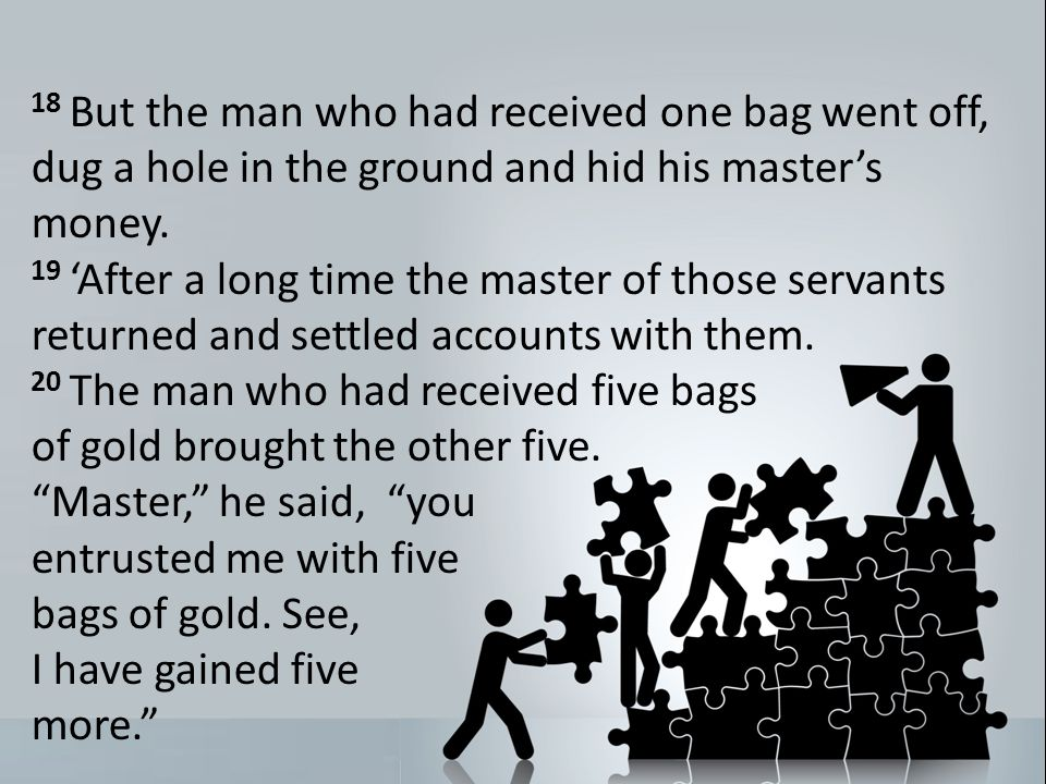 18 But the man who had received one bag went off, dug a hole in the ground and hid his masters money.