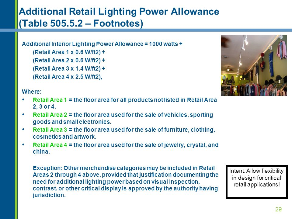 29 Additional Retail Lighting Power Allowance (Table 505.5.2 – Footnotes) Intent: Allow flexibility in design for critical retail applications.