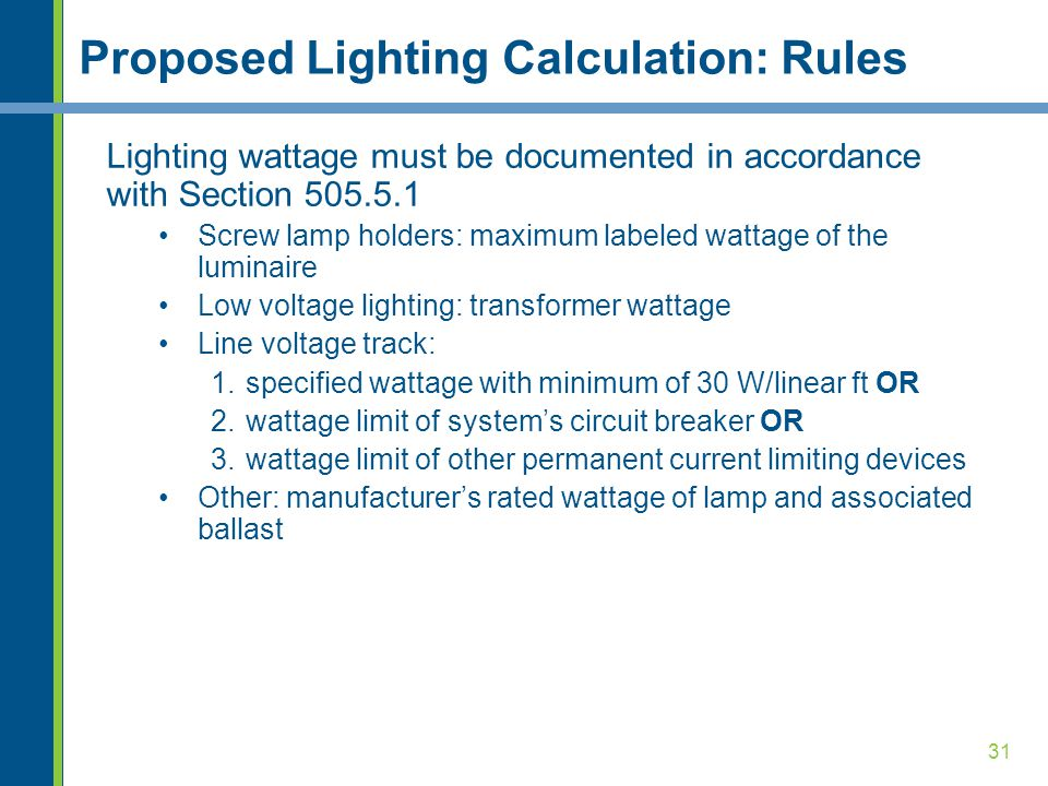 31 Proposed Lighting Calculation: Rules Lighting wattage must be documented in accordance with Section 505.5.1 Screw lamp holders: maximum labeled wattage of the luminaire Low voltage lighting: transformer wattage Line voltage track: 1.specified wattage with minimum of 30 W/linear ft OR 2.wattage limit of systems circuit breaker OR 3.wattage limit of other permanent current limiting devices Other: manufacturers rated wattage of lamp and associated ballast