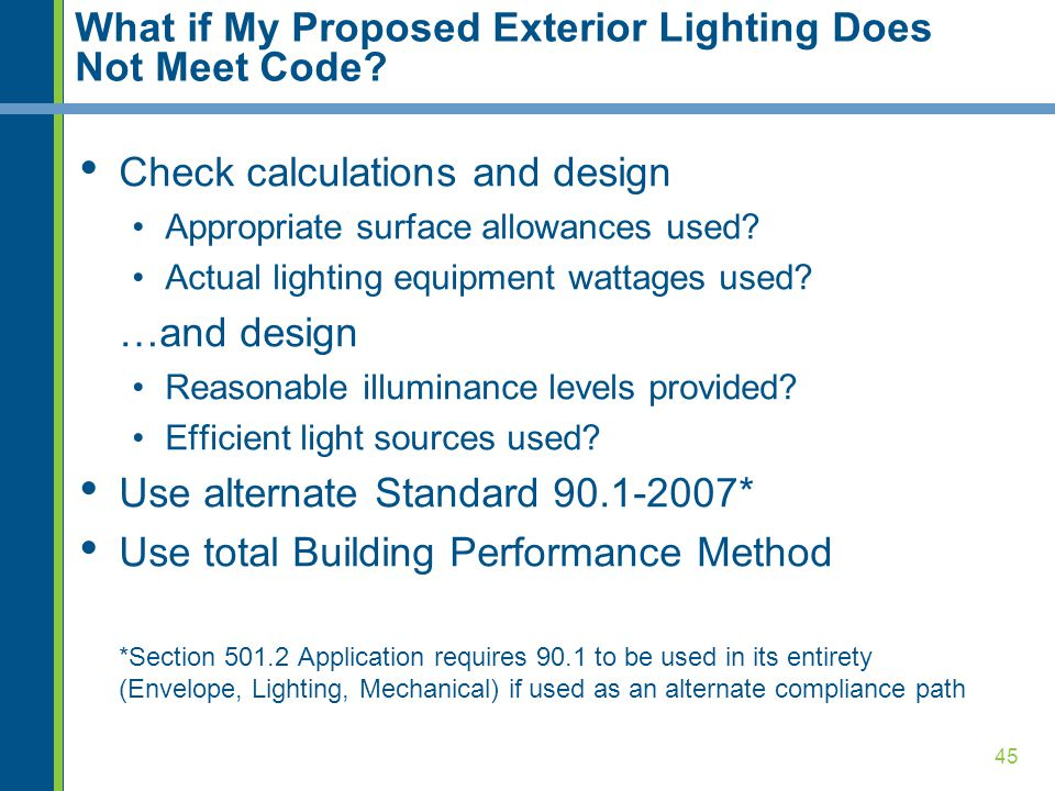 45 What if My Proposed Exterior Lighting Does Not Meet Code.