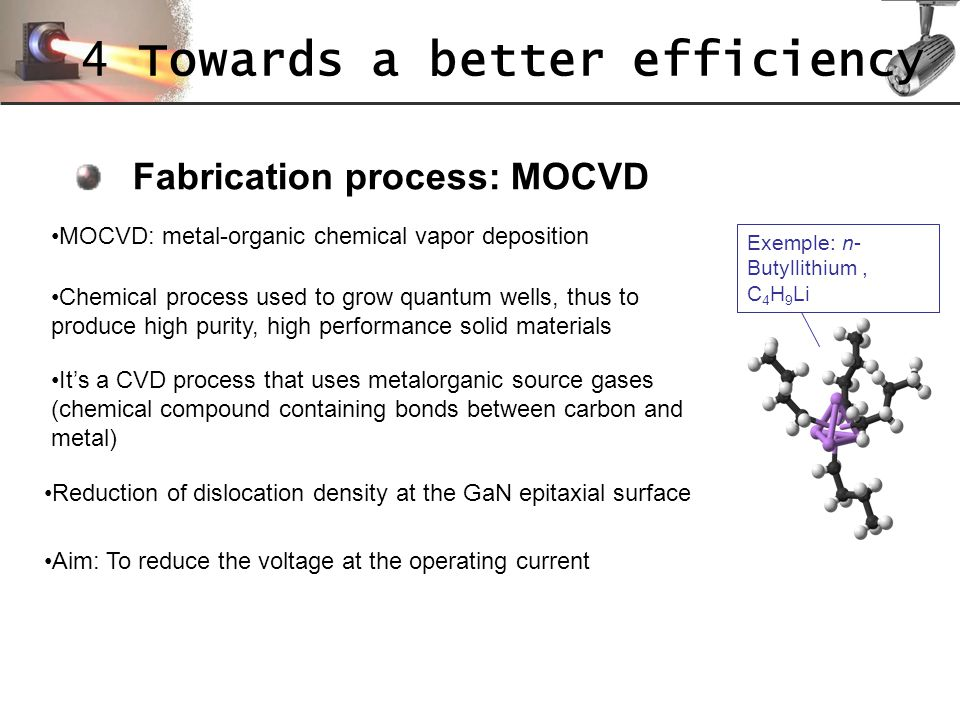 Fabrication process: MOCVD Aim: To reduce the voltage at the operating current Exemple: n- Butyllithium, C 4 H 9 Li MOCVD: metal-organic chemical vapo