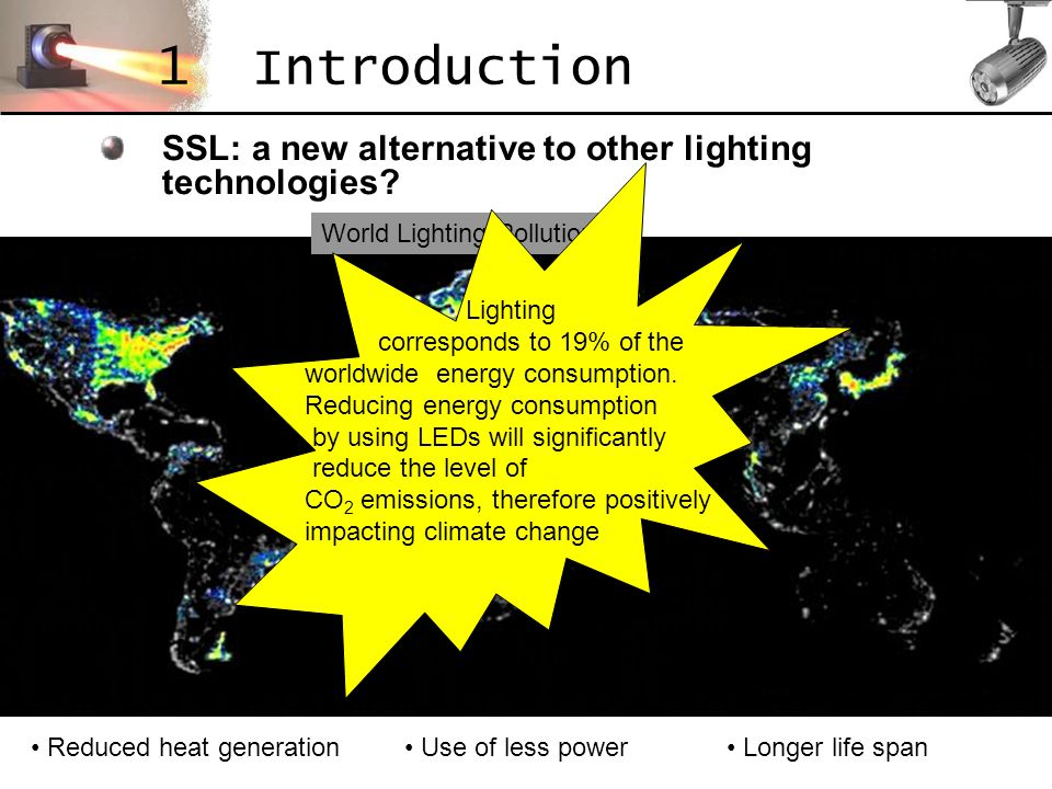 SSL: a new alternative to other lighting technologies? 1 Introduction Reduced heat generation Use of less power Longer life span World Lighting Pollut