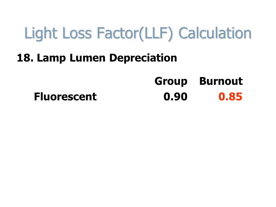 Light Loss Factor(LLF) Calculation 18. Lamp Lumen Depreciation Group Burnout Fluorescent