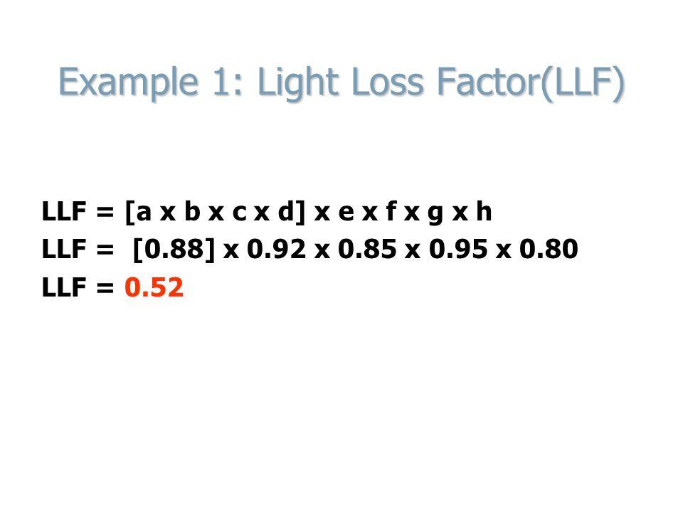 Example 1: Light Loss Factor(LLF) LLF = [a x b x c x d] x e x f x g x h LLF = [0.88] x 0.92 x 0.85 x 0.95 x 0.80 LLF = 0.52