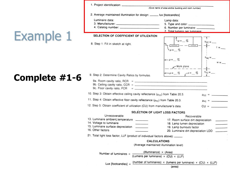 Example 1 13-21 Calculate LLF