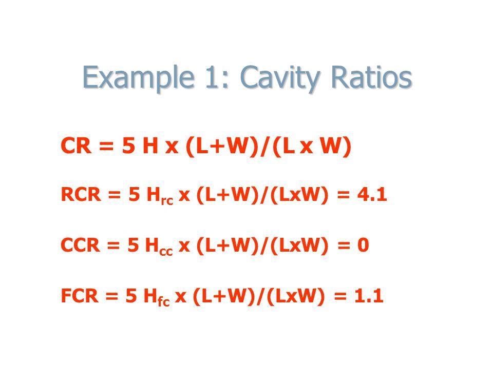 Example 1: Cavity Ratios CR = 5 H x (L+W)/(L x W) RCR = 5 H rc x (L+W)/(LxW) = 4.1 CCR = 5 H cc x (L+W)/(LxW) = 0 FCR = 5 H fc x (L+W)/(LxW) = 1.1