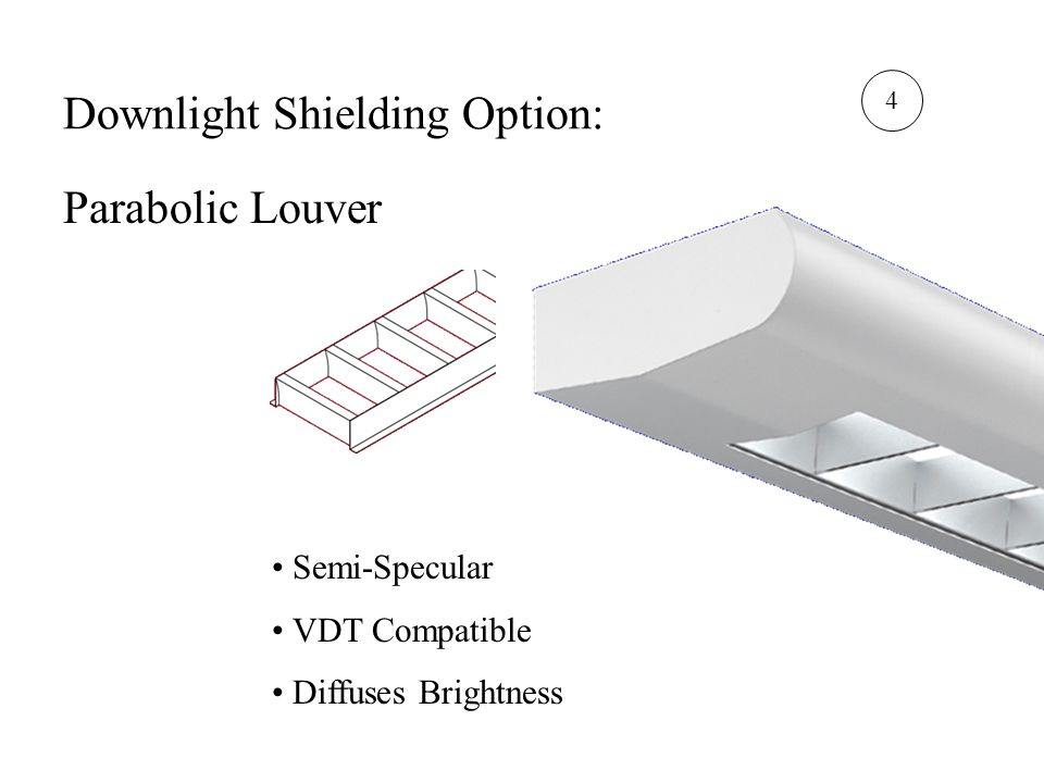 Downlight Shielding Option: Parabolic Louver Semi-Specular VDT Compatible Diffuses Brightness 4