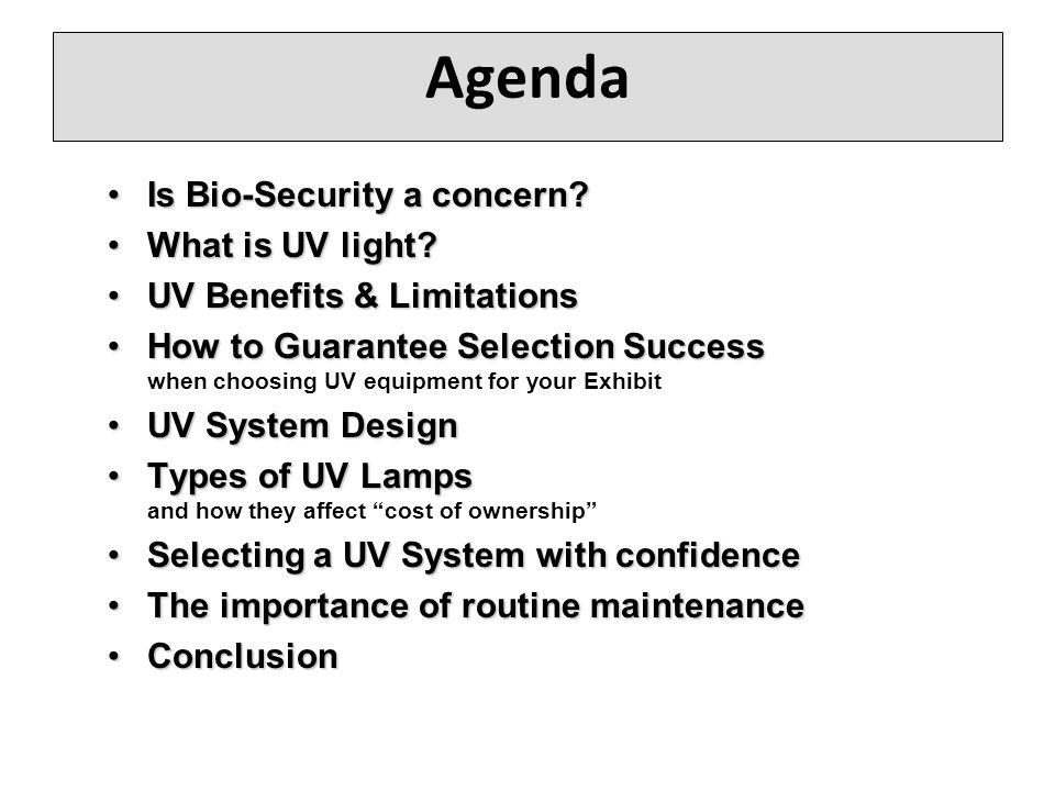 Agenda Is Bio-Security a concern?Is Bio-Security a concern.