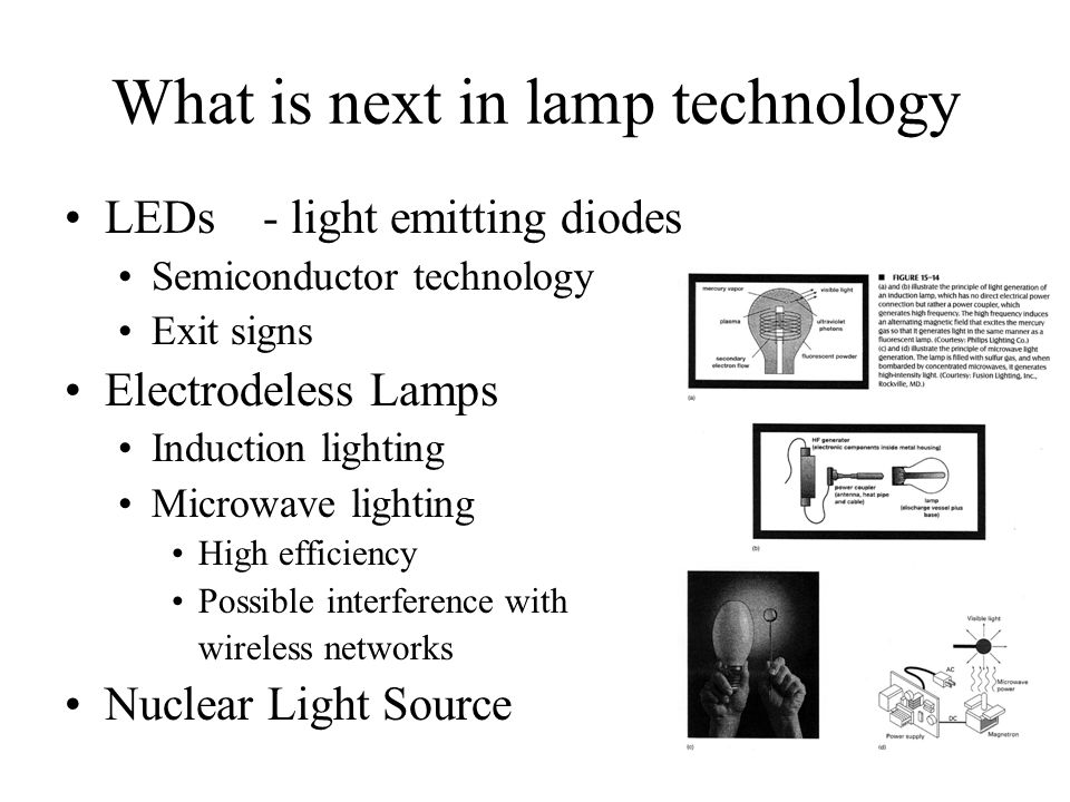 What is next in lamp technology LEDs - light emitting diodes Semiconductor technology Exit signs Electrodeless Lamps Induction lighting Microwave ligh