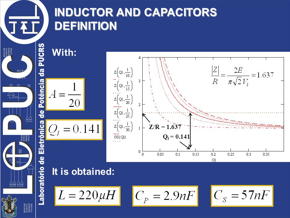 INDUCTOR AND CAPACITORS DEFINITION With: Z/R = 1.637 Q l = 0.141 It is obtained: