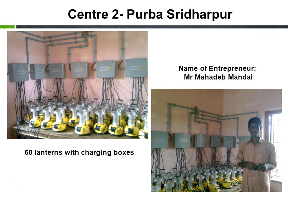 Centre 2- Purba Sridharpur Name of Entrepreneur: Mr Mahadeb Mandal 60 lanterns with charging boxes