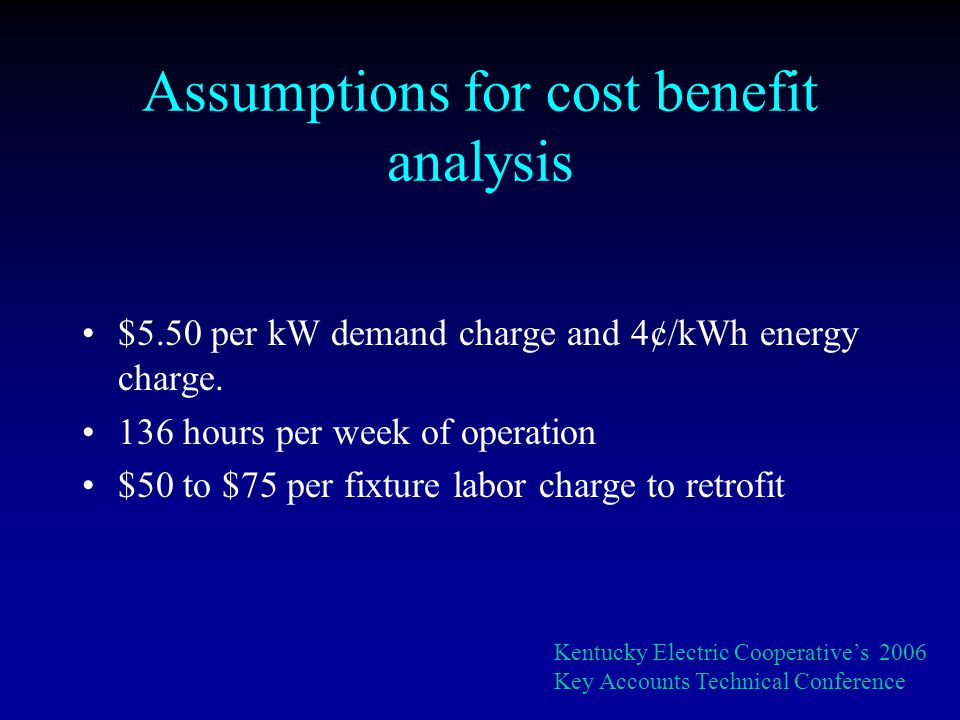 Assumptions for cost benefit analysis $5.50 per kW demand charge and 4¢/kWh energy charge.