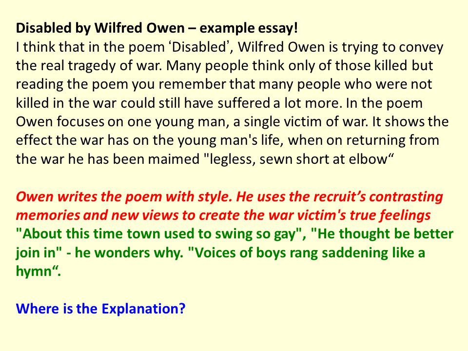 Disabled by Wilfred Owen – example essay.