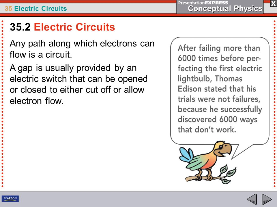 35 Electric Circuits Any path along which electrons can flow is a circuit. A gap is usually provided by an electric switch that can be opened or close
