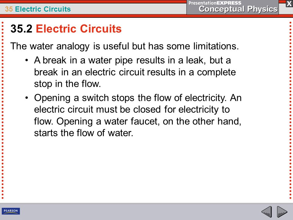 35 Electric Circuits The water analogy is useful but has some limitations. A break in a water pipe results in a leak, but a break in an electric circu