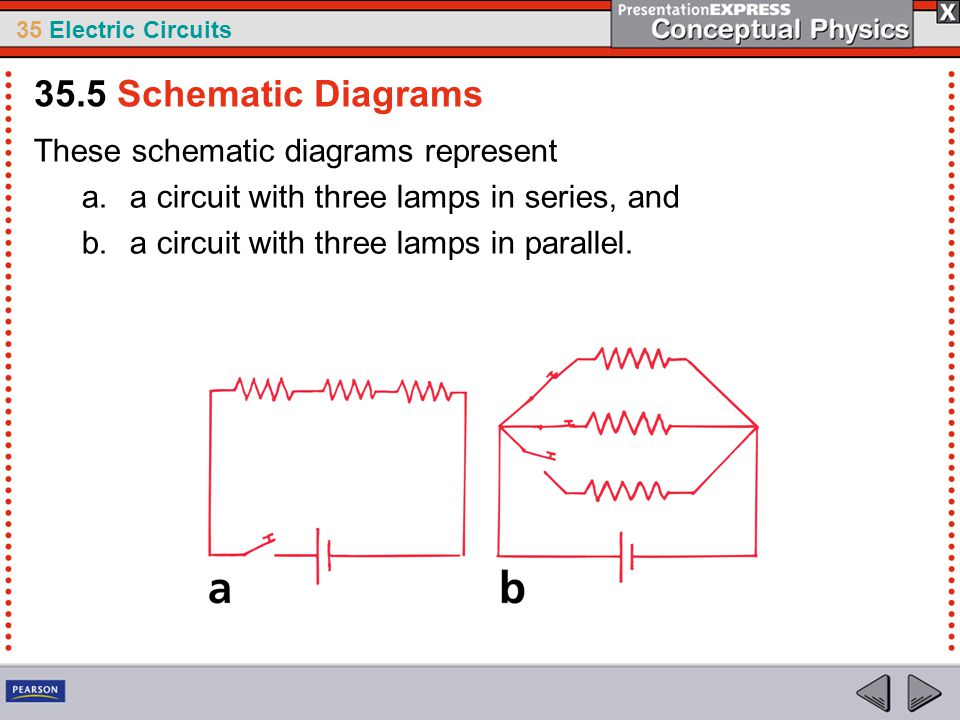 35 Electric Circuits These schematic diagrams represent a.a circuit with three lamps in series, and b.a circuit with three lamps in parallel. 35.5 Sch