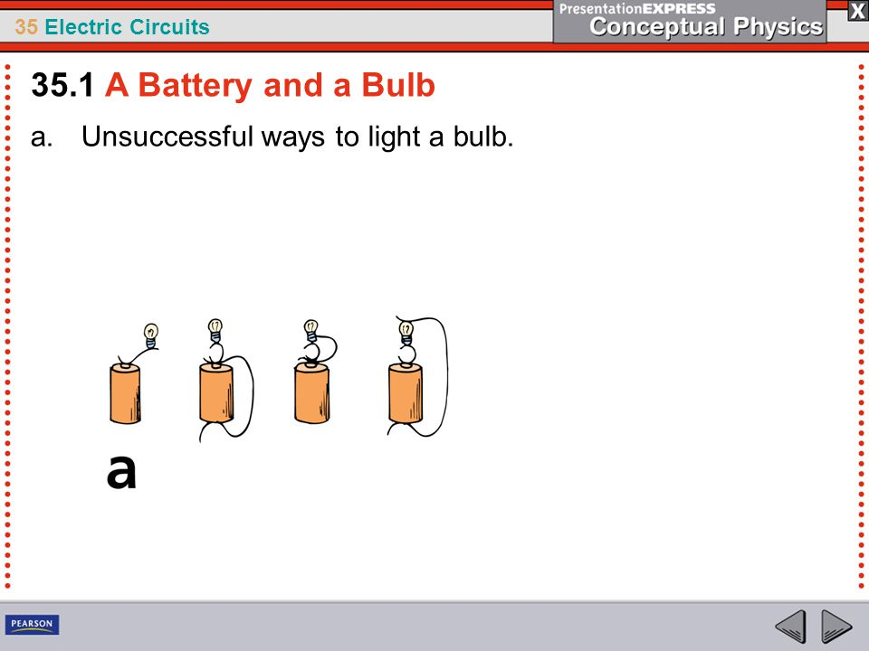 35 Electric Circuits a.Unsuccessful ways to light a bulb.