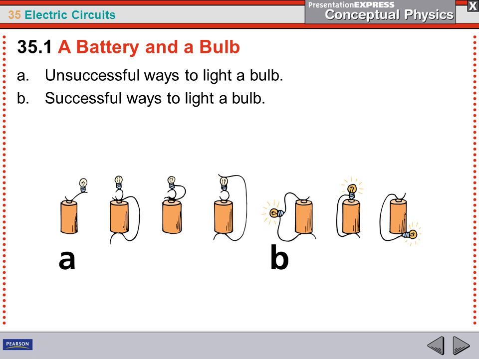 35 Electric Circuits If three lamps are connected in series with a battery, they form a series circuit.