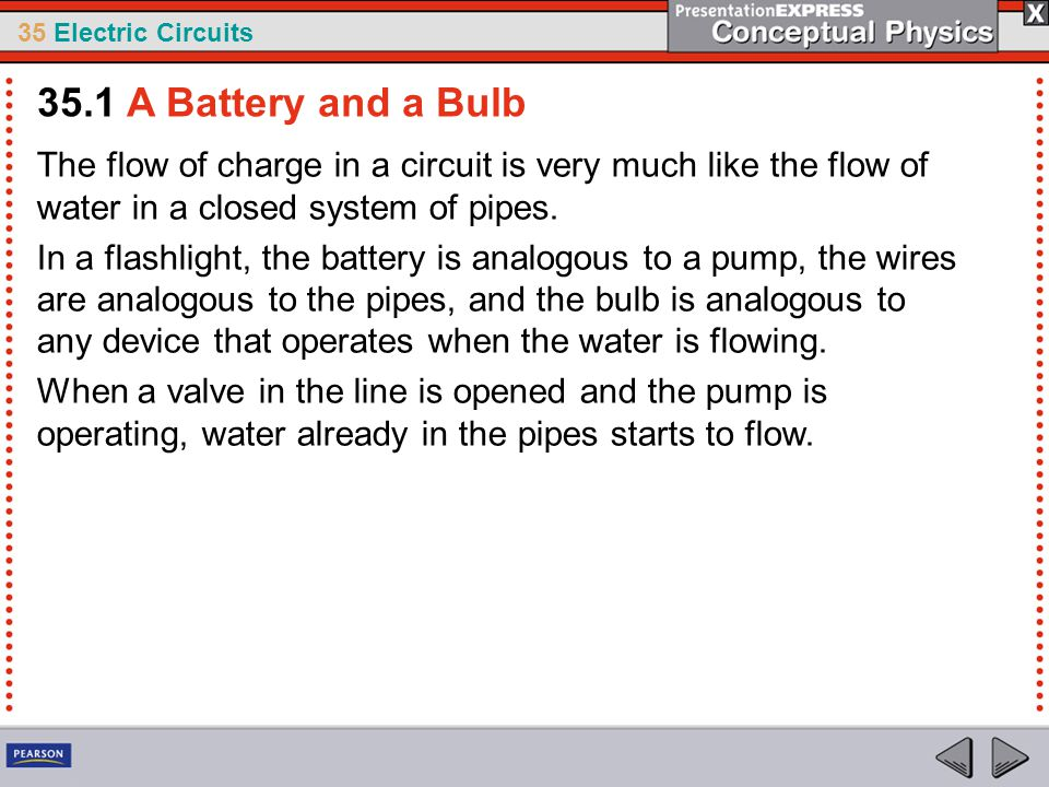 35 Electric Circuits Neither the water nor the electrons concentrate in certain places.