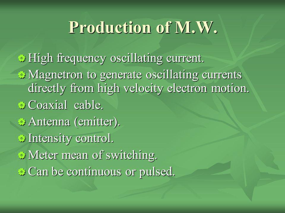 Production of M.W. High frequency oscillating current. High frequency oscillating current. Magnetron to generate oscillating currents directly from hi
