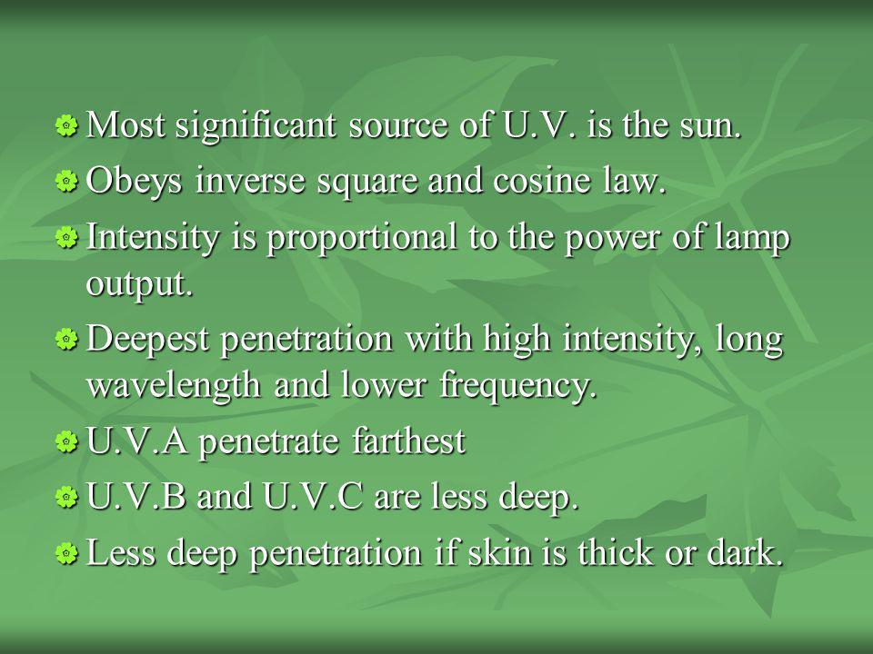 Most significant source of U.V. is the sun. Most significant source of U.V. is the sun. Obeys inverse square and cosine law. Obeys inverse square and