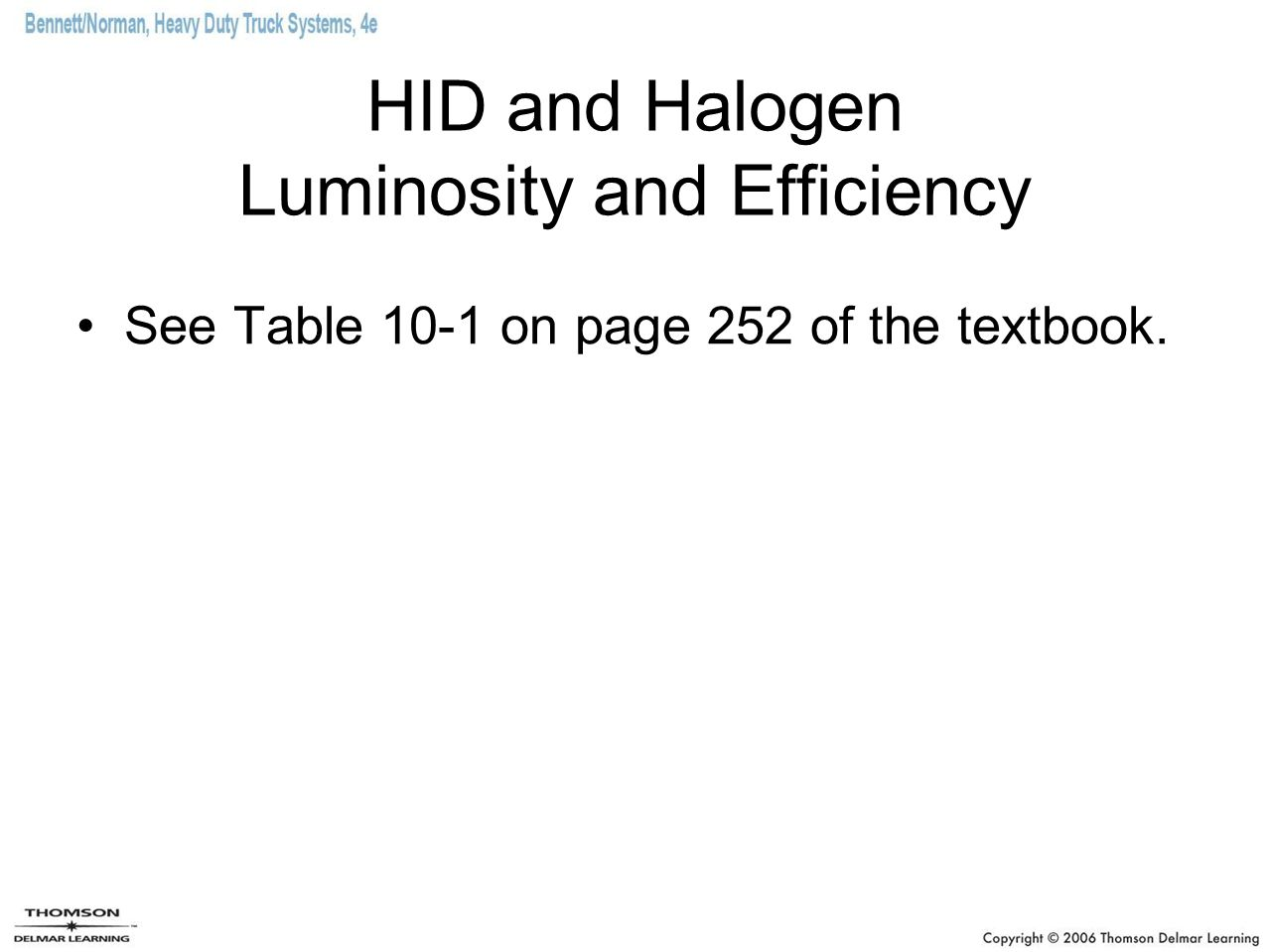 HID and Halogen Luminosity and Efficiency See Table 10-1 on page 252 of the textbook.
