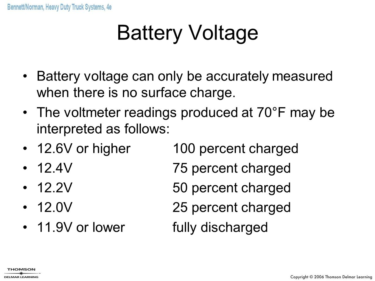 Battery Voltage Battery voltage can only be accurately measured when there is no surface charge. The voltmeter readings produced at 70°F may be interp