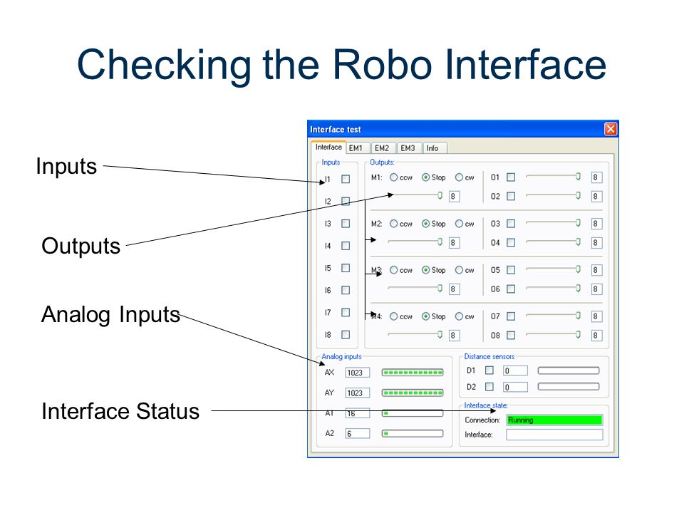 Checking the Robo Interface Inputs Outputs Analog Inputs Interface Status