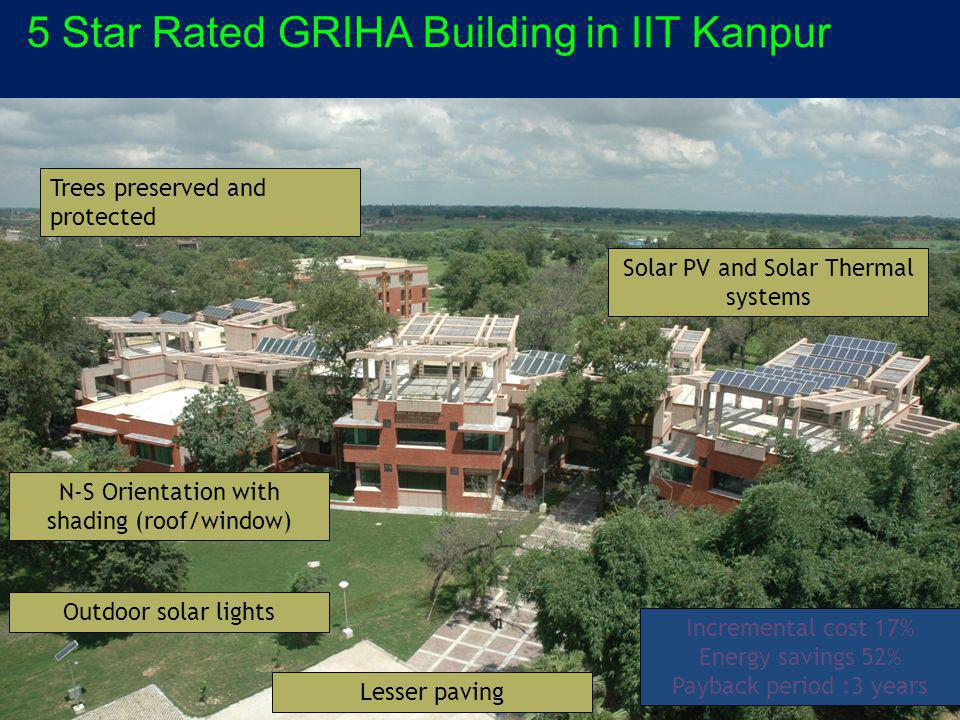 Trees preserved and protected Outdoor solar lights N-S Orientation with shading (roof/window) Lesser paving Solar PV and Solar Thermal systems Incremental cost 17% Energy savings 52% Payback period :3 years 5 Star Rated GRIHA Building in IIT Kanpur
