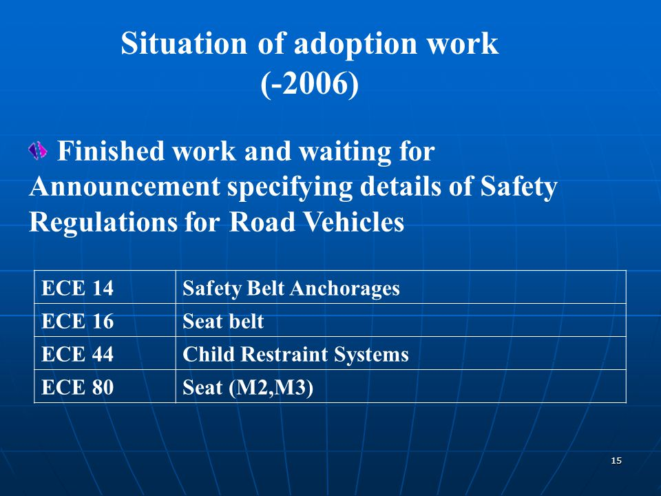 15 Situation of adoption work (-2006) ECE 14Safety Belt Anchorages ECE 16Seat belt ECE 44Child Restraint Systems ECE 80Seat (M2,M3) Finished work and waiting for Announcement specifying details of Safety Regulations for Road Vehicles