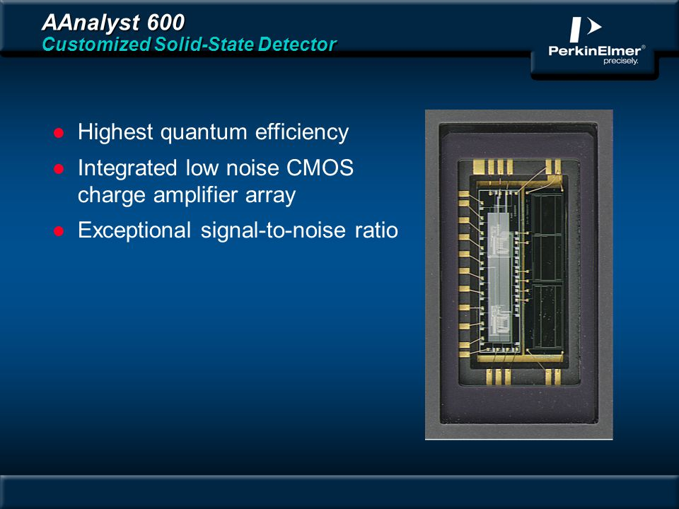AAnalyst 600 Customized Solid-State Detector l Highest quantum efficiency l Integrated low noise CMOS charge amplifier array l Exceptional signal-to-noise ratio