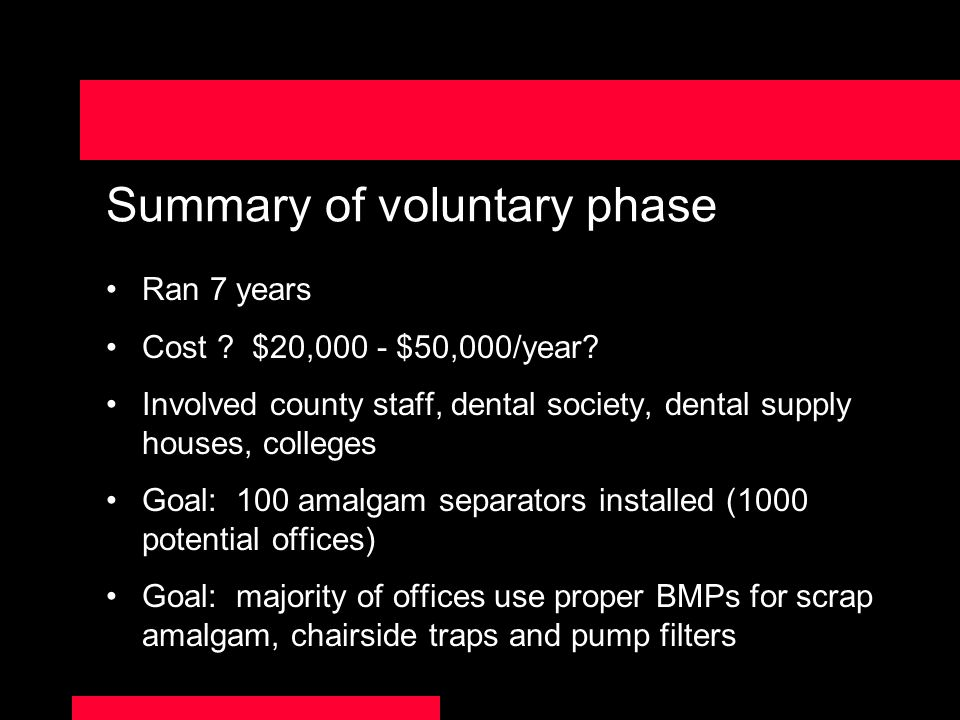 Summary of voluntary phase Ran 7 years Cost .$20,000 - $50,000/year.
