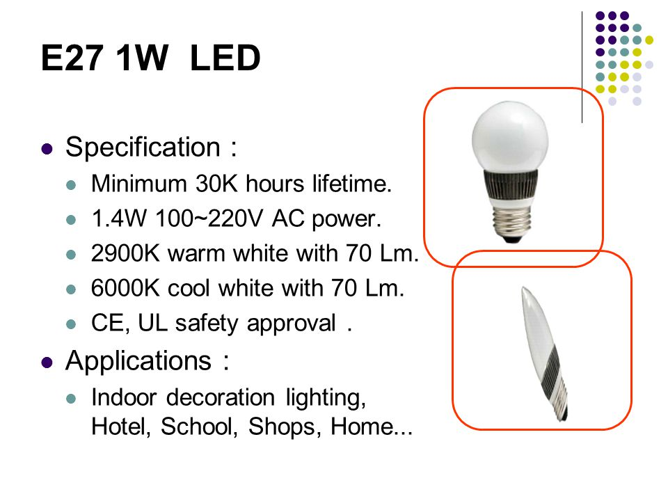 E27 1W LED Specification : Minimum 30K hours lifetime.