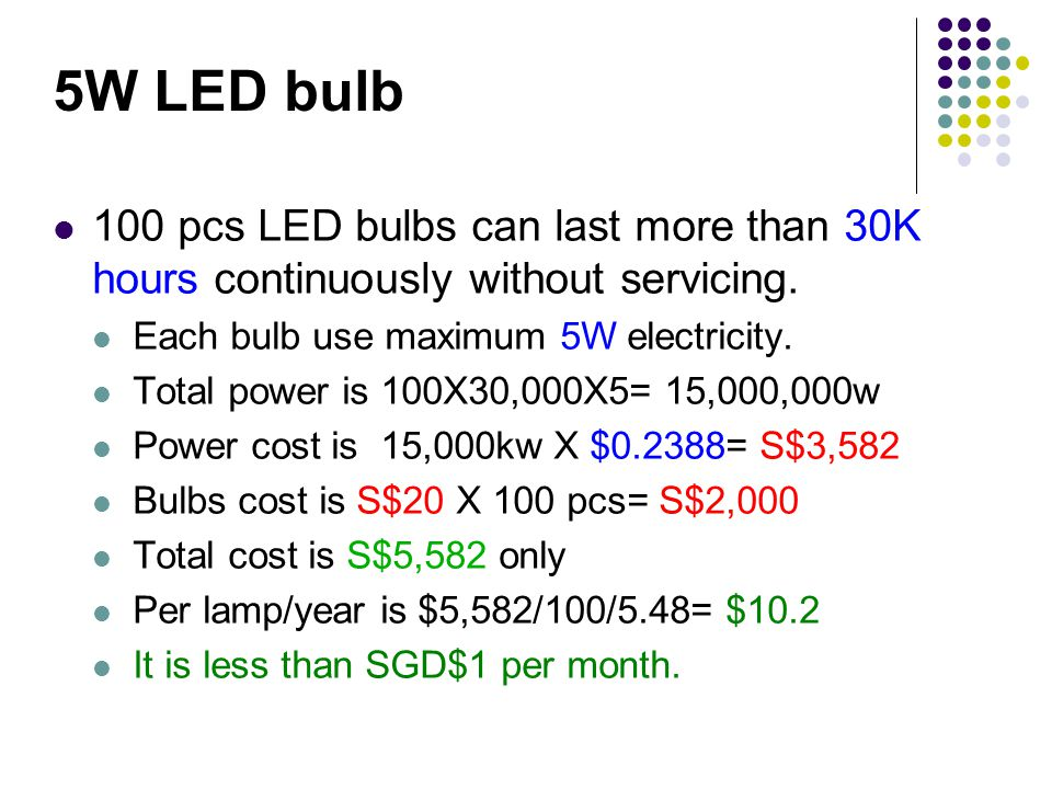 5W LED bulb 100 pcs LED bulbs can last more than 30K hours continuously without servicing.