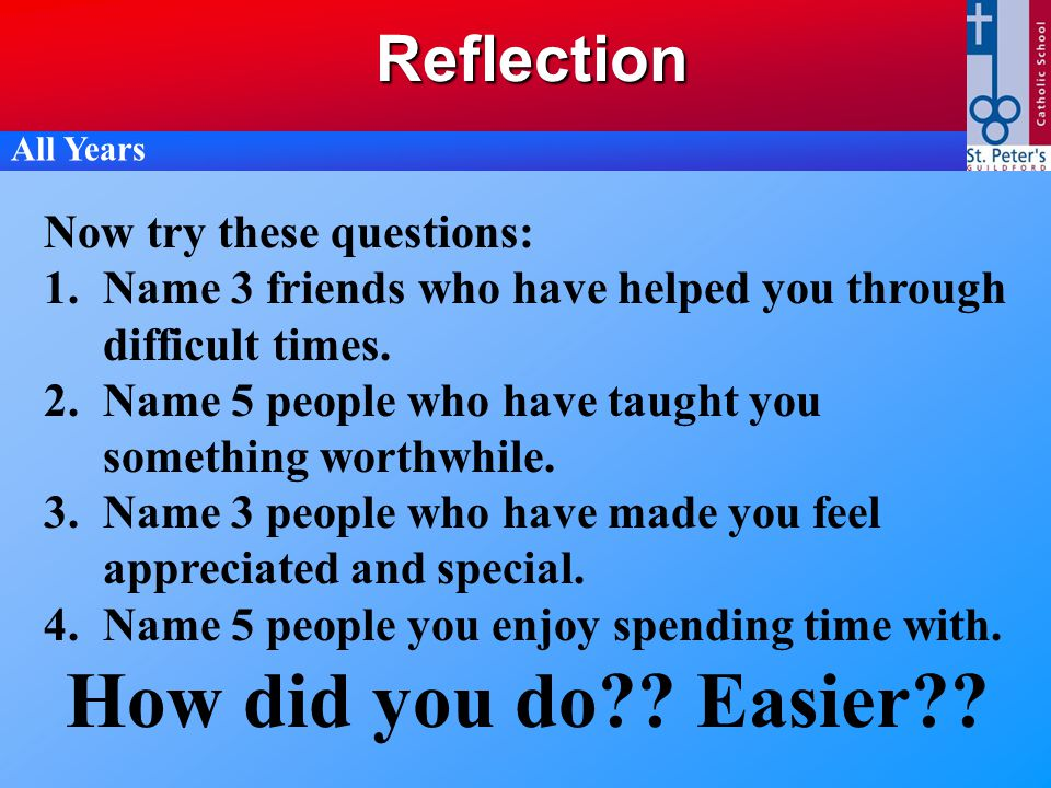 Reflection Now try these questions: 1.Name 3 friends who have helped you through difficult times. 2.Name 5 people who have taught you something worthw