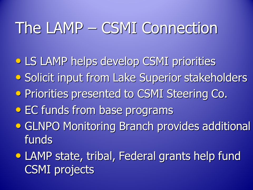 The LAMP – CSMI Connection LS LAMP helps develop CSMI priorities LS LAMP helps develop CSMI priorities Solicit input from Lake Superior stakeholders Solicit input from Lake Superior stakeholders Priorities presented to CSMI Steering Co.