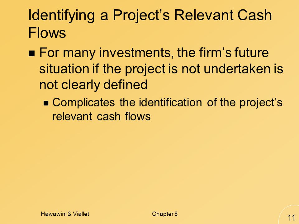 Hawawini & VialletChapter 8 11 Identifying a Projects Relevant Cash Flows For many investments, the firms future situation if the project is not undertaken is not clearly defined Complicates the identification of the projects relevant cash flows