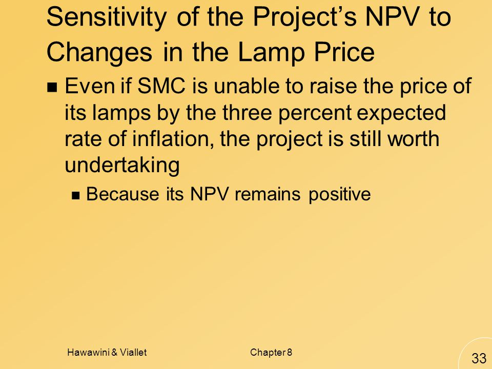 Hawawini & VialletChapter 8 33 Sensitivity of the Projects NPV to Changes in the Lamp Price Even if SMC is unable to raise the price of its lamps by the three percent expected rate of inflation, the project is still worth undertaking Because its NPV remains positive